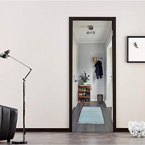 QHOXAI 3D Mural De Arte Etiqueta De Puerta Carteles Zapatero De Suspensión Creativa Arte Mural PVC Autoadhesivo Cocina Sala De Baño Murales Impermeables Dormitorio Decoración del Hogar 77X200Cm