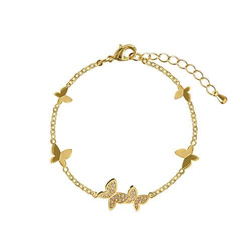 N/A Joyas de Pulsera joyería de Moda Cadena de Cobre con Incrustaciones de circón Delicado Brazalete de Mariposa Elegante Pulsera Femenina Regalo de cumpleaños de San Valentín