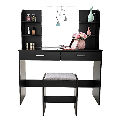Large Vanity Set with Mirror & Cushioned Stool, Makeup Table Vanity Dressing Table, 2 Large Drawer, 6 Storage Shelves, for Bedroom, Bathroom, White