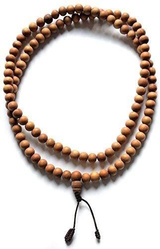BUDDHAFIGUREN/Billy Held Collana di Preghiera Buddista Mala in Perle di Legno da 8 mm, Beige, 8mm Perlen