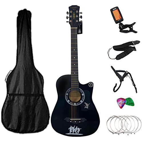 4/4 Size 38' Classic 6 Strings Acoustic Guitar Full Package Pack with Accessories (Black)