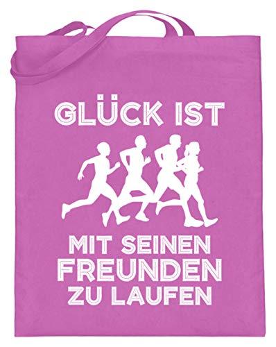 shirt-o-magic Jogger: Mit Freunden laufen - Jutebeutel (mit langen Henkeln) -38cm-42cm-Pink