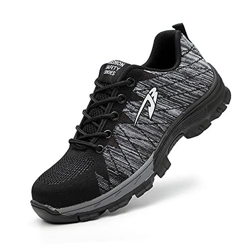 Zapatos de Seguridad Hombre Mujer con Puntera de Acero Transpirables Ligero Calzado de Seguridad Industriales Antideslizante Unisex 🔥
