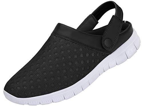 SAGUARO Zuecos para Hombre Mujer Zapatillas de Playa Ligeros Respirable Sandalias del Acoplamiento Ahueca hacia Fuera Zapatillas de Jardín, Negro, 43 EU