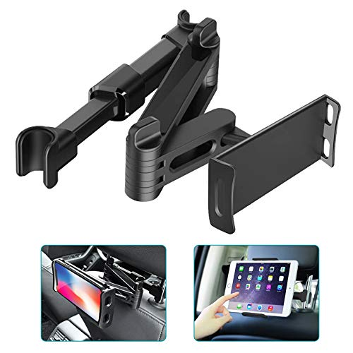 Car Headrest Holder, Universal Stretchable 360° Tablet Phone Mount for Car Backseat Compatible with Smartphones/Tablets/Switch/iPad Air Mini/iPhone/Samsung 4'-10.6', Headrest Posts Width 4.7'-5.9'