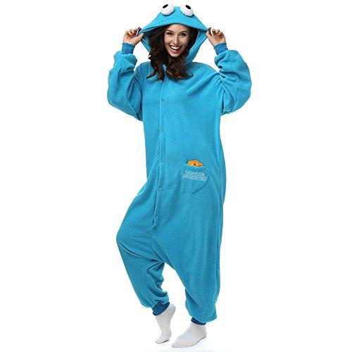 Adult Cookie Monster Onesie Polar Fleece Pajamas Cartoon Sleepwear Animal Halloween Cosplay Costume Unisex (XL (Height 5'10-6'1))