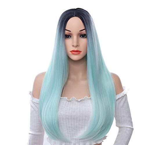 Perruque Lady Rose Bleu Vert Micro Volume Longue Perruque Cheveux raides Perruque synthétique (Color : Black Green)