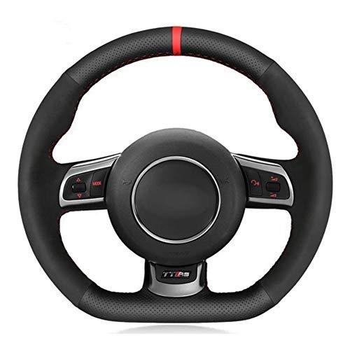 YHDNCG Handgenähtes schwarzes Leder-Auto-Lenkrad-Abdeckung, für Audi TTRS 2009-2014 R8 2010-2015 RS3 (8P) 2010-2014 RS6 2008-2010