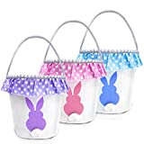TOPLEE 3 PCS Easter Eggs Hunt Basket for Kids Canvas Bunny Basket Egg Bags Rabbit Fluffy Tails Party Celebrate Decoration Gift Toys Carry Bucket Tote