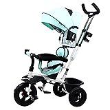 NBgycheche Triciclo Trike Triciclo de bebé, triciclos para niños con asa para Padres 4-en-1 con Dosel de rotación para el Asiento Giratorio Ruedas silenciosos Pedal de pie Plegable (Color : Blue)