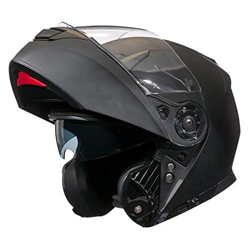 Bilt Power Flip Up Drop Down Sun Shield Vented DOT Sport Adventure Touring Street Bike Motorcycle Modular Helmet - Matte Black LG