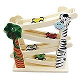 Pista carreras coches niños rampa de madera coches. Juguetes de Aprendizaje zig Zag tobogán Click clack Cars jugle Safari Pista de Carreras 4 Roller vagones para los niños 3 Anos