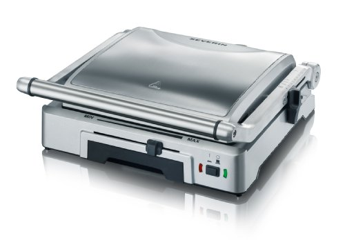 SEVERIN KG 2392 Plancha de Asar con placas intercambiables, 1.800 W, color acero inoxidable