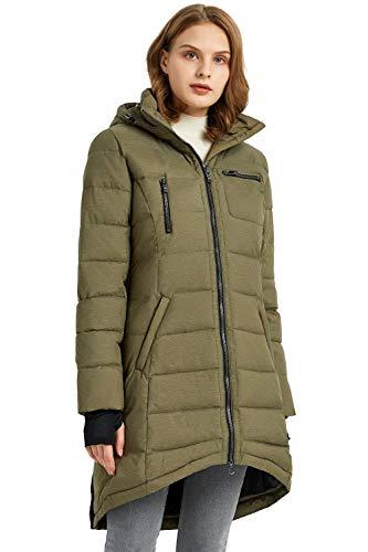 Orolay Abrigo de Chaqueta de Plumón para Mujer de Longitud Media Ejercito verde Large