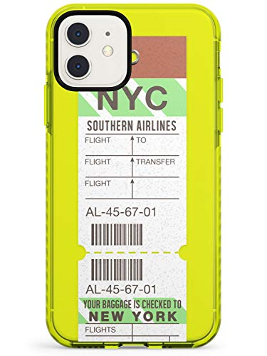 New York Vintage Baggage Tag Neon Yellow Impact Phone Case for iPhone 11 | Protective Dual Layer Bumper TPU Silikon Cover Pattern Printed | Luggage Ticket Wanderlust Travel Pass