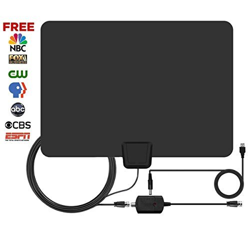 TV Antenna, Gipow Amplified HDTV Antenna 75 Mile Range with Detachable Amplifier USB Power Supply Signal Booster Upgraded Version Better Reception, 16ft High Performance Coax Cable