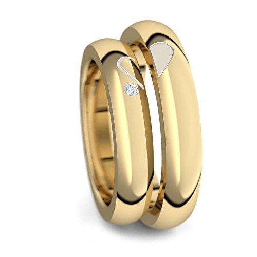 Eheringe Trauringe Gold Set AMOONIC mit Zirkonia Freundschaftsringe Paarpreis Verlobungsringe Partnerringe Silber 925 hochwertig vergoldet Ringpaar Hochzeitsringe Luxusetui Eheringe ER40VGGGZIFA-5060