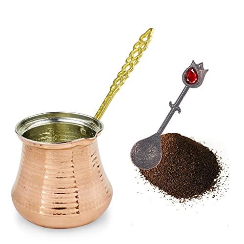 Cafetera Turca: Cezve Cafetera Para Café Turco | Cafetera Arabe Ibrik con Mango | Olla de Cobre Martillado Otomana Hecha a Mano (Cobre, 10 porciones)