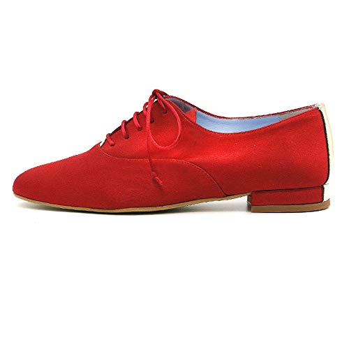 CIVI. Zapato Oxford Inglés de señora. Calzado de Mujer con Cordones. Rojo....