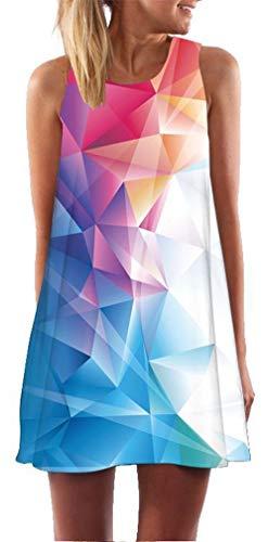 Ocean Plus Mujer Verano Tops Camisola sin Mangas Colorido Ropa Pavo Real Flores Vestidos de Playa Búho Corto A Line Vestido Cover Up (XL (EU 40-42), Patrón geométrico de Colores)