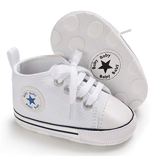 Tutoo Unisex Baby Boys Girls Star High Top Sneaker Soft Anti-Slip Sole Newborn Infant First Walkers Canvas Denim Shoes (3-6 Months M US Infant, A02-white)