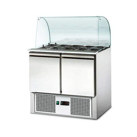 Saladette Kühltisch mit GlasaufsatzPREMIUM - 0,9 x 0,7 - mit 2 Türen
