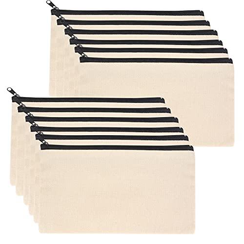 12 bolsas de tela blanca para manualidades, neceser de viaje, neceser con cremallera, bolsa de maquillaje, bolsa de regalo para damas de honor, estuche pequeño para viajes, 21 x 12 cm