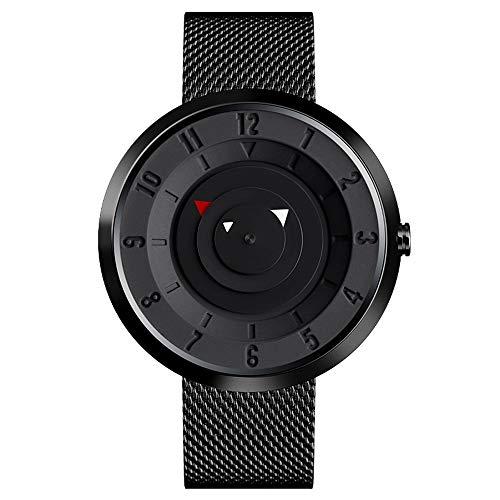 Schwarz Armbanduhr Herren, Minimalistische Analoge Quarzarmbanduhr für Männer, Herrenuhren Günstig Kaufen, Horloge Herren Uhren mit Edelstahl Uhrenarmbander und Japanisches Uhrwerk