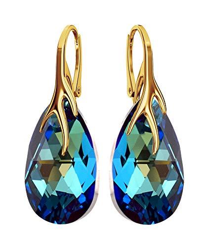 Crystals & Stones BAP39 - Orecchini da donna in argento 925 placcato oro 24 K, motivo mandorle, con cristalli Swarovski, meravigliosi orecchini con confezione regalo
