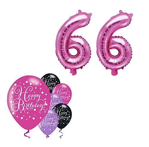 Feste Feiern Deko Schnapszahl 66. Geburtstag I 8 Teile Zahlenballon Luftballon Zahl 66 Pink Schwarz Violett metallic Party-Set Happy Birthday Jubiläum