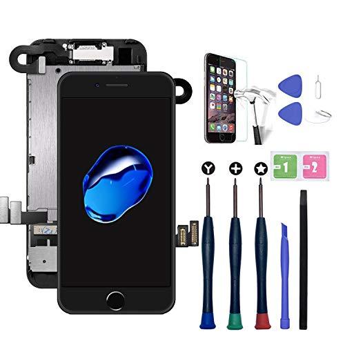Xlhama Nueva Pantalla LCD táctil Compatible con iPhone 7 Plus Negro con cámara Frontal, Altavoz con Sensor de proximidad, Herramientas y Protector de Pantalla-Negro