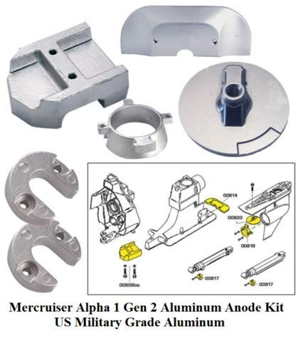 Hmn_Str Aluminum Alpha I Generation II Anode Kit Military Grade 20801AL 18-6158A Included Gimbal Plate Lift-Ram Bearing Carrier For Salt Water And Brackish Water Use