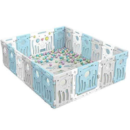 NMDD Spielplatz Baby Laufstall und Bällebad Set für Indoor Kleinkind Sicherheit Spielbereich Tor Anti-Fall Zaun, blau, ohne Bälle