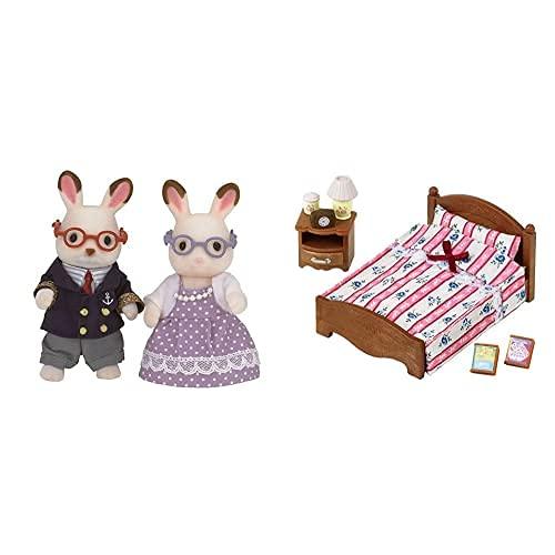 Sylvanian Families 5190 Figurine Nonni Coniglio Cioccolato & 5019 Giocattolo Letto E Comodino