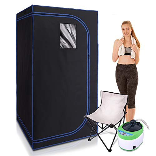 SereneLife SLISAU35BK Full Size Portable Steam Sauna –Personal Home Spa, with Remote Control, Foldable Chair, Timer