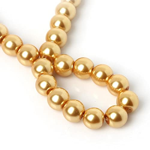 4 mm / 6 mm / 8 mm / 10 mm 20-100 piezas AAAA Perlas de vidrio redondas perladas Perlas de imitación Perlas sueltas Manualidades de bricolaje Costura Accesorios de ropa-Marrón claro, 6 mm 50 piezas