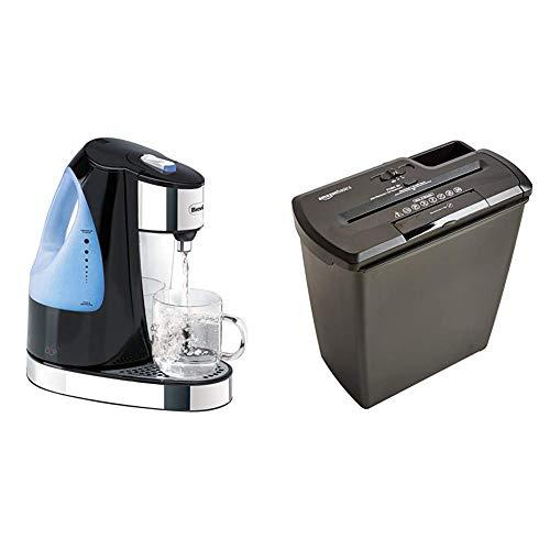 Breville HotCup Hot Water Dispenser, 1.5 Litre, Gloss Black & Amazon Basics 8 Sheet Strip Cut Shredder with CD Shred