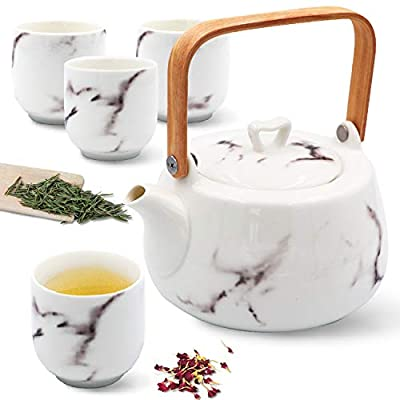 IAXSEE Ceramic Teapot Set, Porcelain Ceramic Coffee Tea Gift Sets 27 Ounce White Porcelain Teapots with 4 Teacups Japanese Tea Pot for Loose Leaf Tea (White set)