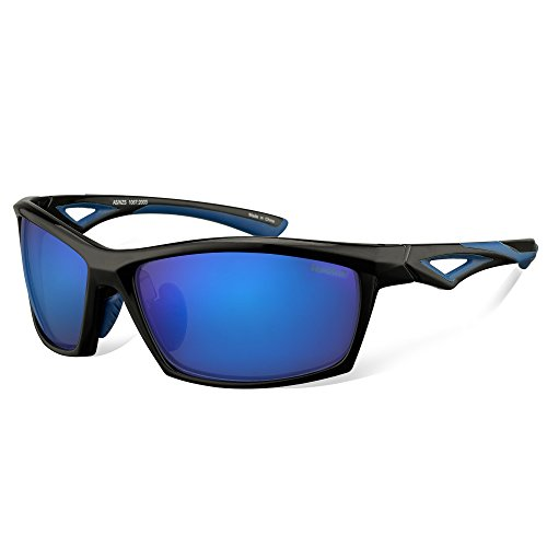 HAKA 偏光レンズ メンズスポーツサングラス 超軽量 UV400 紫外線をカット スポーツサングラス/ 自転車/釣り/野球/テニス/ゴルフ/スキー/ランニング/ドライブ (黒のフレーム+浅青) (亮黒+暗い青)