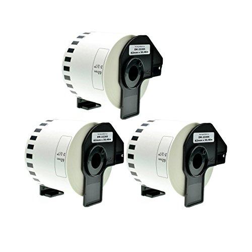 Logic-Seek 3X Endlos-Etikett kompatibel für Brother DK22205 62mm x 30,48m P-Touch QL-1050 1060N 500 550 560 570 580 700 500 A BS BW 560 VP YX 580N 650TD 710W 720NW