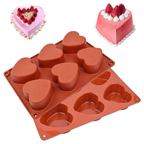 6 Holes Heart Shaped Cake Pans Heart Shaped Silicone Mold Heart Cake Pan Chocolate Mold Silicone Molds for Baking Pudding Dome Mousse  2 Pcs