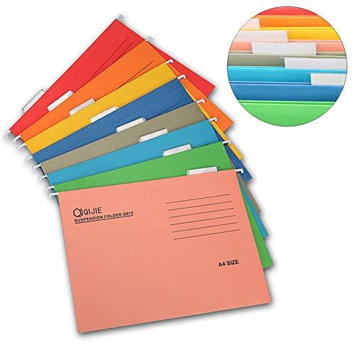 INTVN Cartelle Sospese A4 per Cassetti Cartelle portadocumenti da appendere Colori Assortiti 8 pezzi