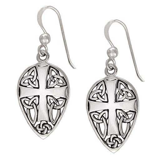 Sterling Silver Medieval Knights Cross Earrings with Celtic Knotwork