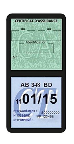 Générique Porte étui Double Vignette Assurance Voiture Neutre sans marquage Stickers Auto rétro (Noir)