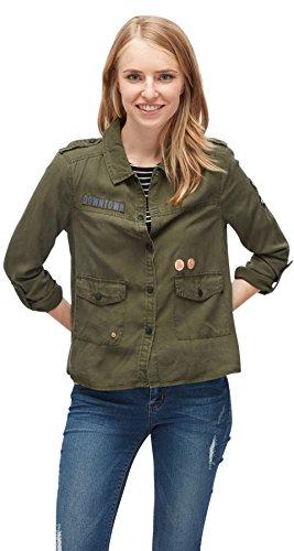 TOM TAILOR Denim für Frauen Shirt/Blouse Bluse mit Patches Dark Wood Green S