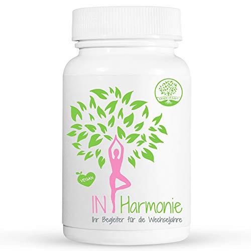 IN HARMONIE - Menopause Kapseln - 120 Kapseln für 2 Monate - Vegan und Pflanzlich - Begleiter bei den Wechseljahren | Laborgeprüft & Hergestellt in Deutschland | Hormonfrei & Natürlich