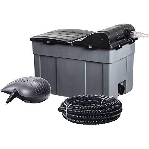 Heissner FPU16000-00 Mehrkammer-Teichfilter 60 x 40 cm mit integriertem 11 Watt UVC-Teichklärer, inklusiv Filterpumpe mit 10 mm Körnung