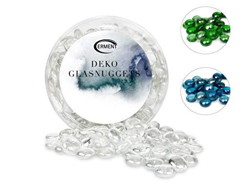 Erment - Hübsche Glasnuggets klar- 800g – formschön & sauber – Glas Muggelsteine, Dekosteine I Deko, Vase, Legematerial, basteln etc.