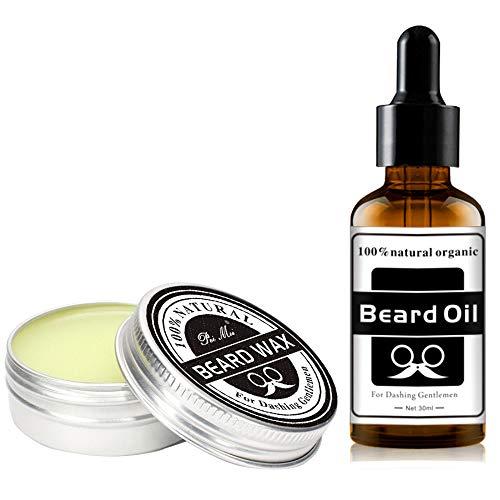 J TOHLO Kit de crema de barba y aceite de barba premium para hombres, Vegano, aceite de barba totalmente natural para hombres...