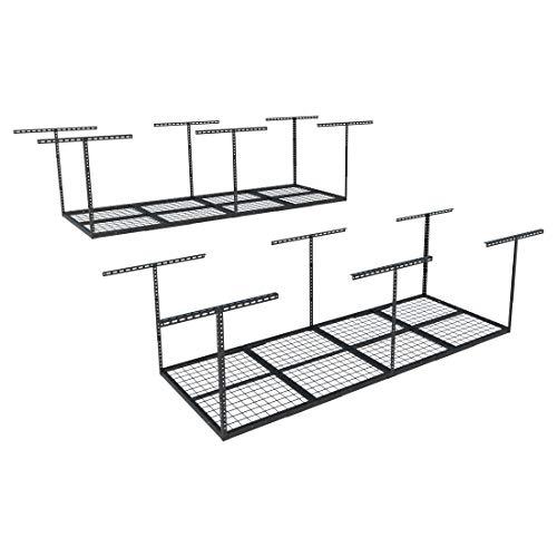 FLEXIMOUNTS 2-piece 3x8 ft Overhead Garage Storage Racks Set Ceiling Storage Racks Adjustable Heavy Duty 96 Length x 36 Width x 40 Height Black